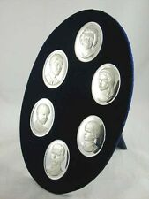 BRITISH ROYAL FAMILY SPLENDID BOXED  STERLING SILVER CAMEO COLLECTION 1972 noe