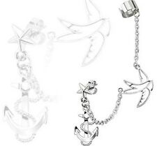 Stainless Steel Star Stud Chain Earring with Swallow and Anchor Dangles Ear Cuff