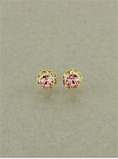 8mm Lifetime GP Lt Rose Pink Swarovski Crystal Elements Post Stud Earrings