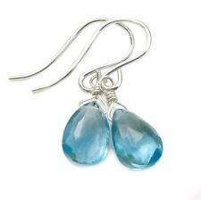 London Blue Topaz Earrings Simple Faceted Natural Pear Drops Sterling Silver