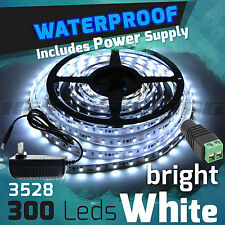 BRIGHT WHITE 5M 3528 SMD 300 LED Waterproof Flexible Strip Light + DC 12V POWER