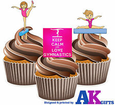 Girls Keep Calm Gymnastic Mix 12 Edible Cup Cake Toppers Birthday Decorations
