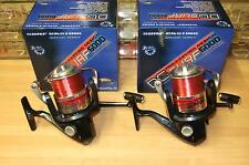 2 x Beach Surf Casting Reel, Fixed Metal Spool, Front Drag, Red Line, 4 Bearings