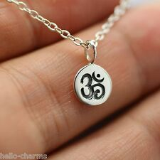 TINY OHM NECKLACE - 925 Sterling Silver - Namaste Yoga Ohm Jewelry Om Charm Ohm