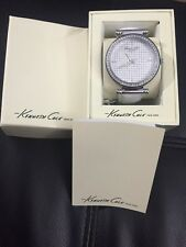 New Kenneth Cole KCW2004 Crystal Dial and Bezel White Band Women's Watch