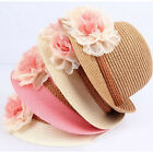Baby Girl Kids Hat Fashion Flower Cap Summer Beach Sun Straw Headwear in 4 Color