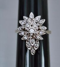 Vintage Deco 14K White Gold (5.7 grams) Diamonds Cluster Ring