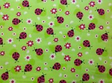 ~FLANNEL~Bright~Ladybug~Quilting~Fabric~Green~Ladybirds~Flannelette~Girls~FQ