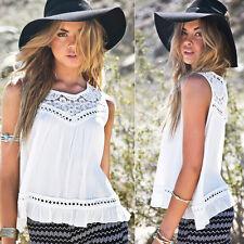 Sexy Womens Summer Lace Chiffon Vest Tank Tops Sleeveless Blouse Shirt