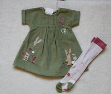 ***BNWT Next baby girl Green Bunny cord dress and tights set 0-3 months***