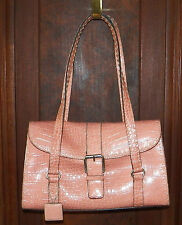 Liz Claiborne Peach Faux Croc Shoulder Bag Purse