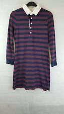 Jack Wills Women's Rugby Long Polo Top / Dress - Burgundy And Blue Size UK 8