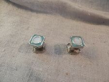 Vintage Jem Link Cufflinks Snap Green Square Mother of Pearl Enamel