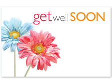 """50ct. """"Get Well Soon"""" Daisies Flowers Blank Florist Enclosure Cards Small Tags"""