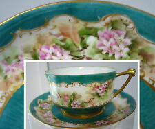 antique Limoges France (unm) Hand Painted XLarge Cup & Saucer Beautiful Signed