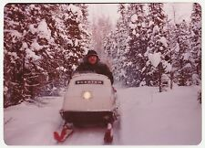 Vintage 70s PHOTO Man In Snow Mobile Alaska