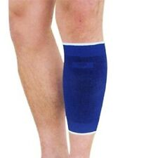 2 x Blue Elasticated Calf Shin Support Compression Brace Sleeve Guard