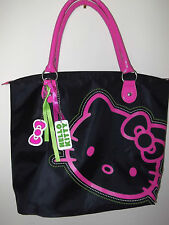 "HELLO KITTY Handbag  Bag TOTE  13"" x 12"" x 6"" Pink   Black + Key-chain"