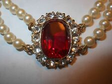 HOBE Vintage 2 Strand Majorca Pearl NECKLACE 7CT Open Back Big RED Crystal MINT