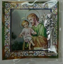"SAINT ST JOSEPH CATHOLIC POCKET STATUE & 3"" X 3"" GOLD STAMPED HOLY CARD NOVENA"