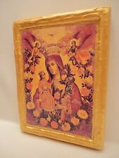 Virgin Mary Jesus Christ Rare Catholic and Orthodox Icon Art on Real Wood Plaque