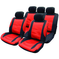 14 PCE BLACK/RED MESH CAR SEAT COVERS & STEERING WHEEL COVER SET NEW PROTECTORS