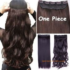 Deluxe Thick 1Pcs Clip in Full Head Hair Extensions as human Hair 5 Clips lkv
