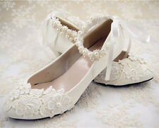 Handmade Off White Lace Bridal Shoes Flat Ankle Strap Wedding Shoes UK3-6.5