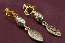 Boucles d`Oreilles Clip Pendante Metal Gravé Fleur Vintage Soirée Cadeau E5