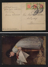 Iceland  71 strip of 3 on post  card   1917                   WPX1114