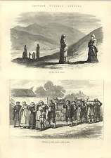 1875 Chinese Funeral Customs Procession Of Women Visiting Grave Ming Tomb