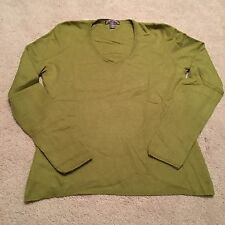 Cashmere By Charter Club 2-PLY 100% Cashmere V-Neck Long Sleeve Green Sweater M
