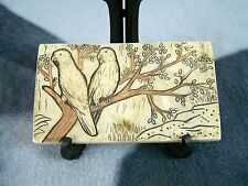 BRIDS BEIGE BROWN DECORATIVE P[ERCHED ON TREE BRANCH RESIN TILE PIECE