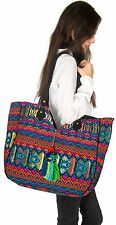 Large Tote Shoulder Bag Purse Handbag Quilted Blue Canvas Shopping Market Beach