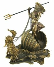 Neptune Poseidon Statue Greek Mythology Roman God of Sea w Trident and Sea Horse