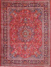"Traditional Floral Red/Blue 10x13 Mashad Persian Oriental Area Rug 12' 8"" x 9' 8"