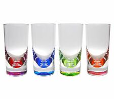 QG 12 oz Acrylic Colorful Teardrop Drinking Glass w/ Heavy Colored base Set of 4