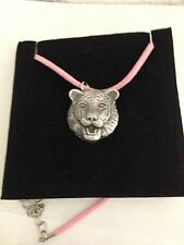 Tiger R72 Pewter Pendant on a PINK CORD Necklace