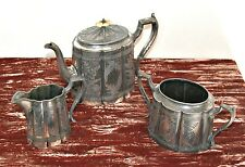 Antique Victorian James Dixon & Sons Silver Plated 3 Piece Engraved Tea Set