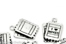 Silver I Love Movies Ticket Charms 25mm 2 Pieces
