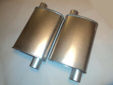 NEW THRUSH PERFORMANCE TURBO MUFFLERS PAIR 2.5 INCH OFFSET IN/OUT ALUMINIZED