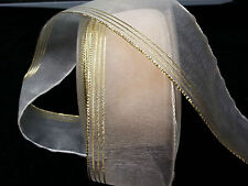ORGANZA CREAM FANCY RIBBON WITH GOLD EDGING 40MM. MILLINARY, GIFTS, SCRAPBOOKING