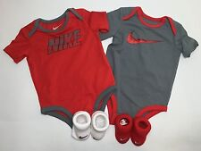 Air Nike Baby Boys 4-piece Outfit Gift set Bodysuit and Booties, 3-6 Months.