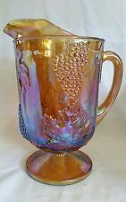 Vintage Carnival Glass Pitcher Harvest Grape Iridescent Marigold Indiana Glass