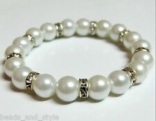 Stylish classic white pearls diamond beads bracelet / indian fashion jewelry