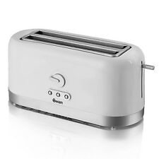 SWAN WHITE 4 SLICE LONGSLOT ELECTRIC TOASTER 40MM EXTRA LONG SLOT NEW
