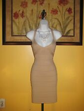 NWT bebe 2b Beige/Nude Ottoman Caged Bandage Dress Size L