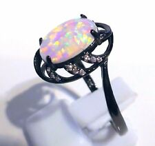 FABULOUS BLACK GUM GOLD PLATED WHITE OPAL RING  UK SIZE  W