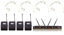 4 Channels UHF Wireless Microphone with Four Beige Mini Headset