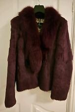 Purple real rabbit coney fox fur coat veste taille 8-10